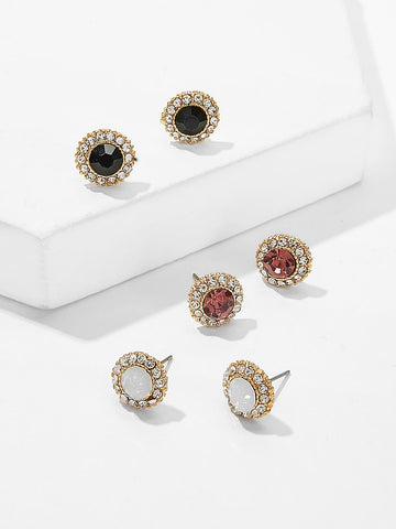 Contrast Trim Rhinestone Stud Earrings 3pairs