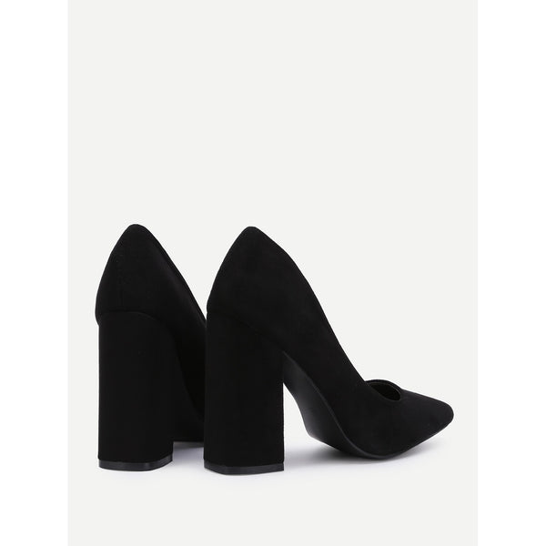 Pointed Toe Block Heeled Pumps - Anabella's