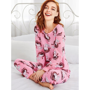 All Over Cartoon Girl Print Tee & Pants Pj Set PINK