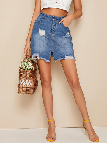 Raw Hem Ripped Denim Skirts