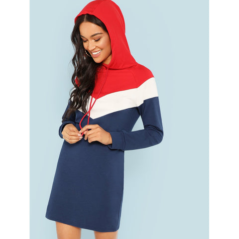 Color Block Hooded Dress