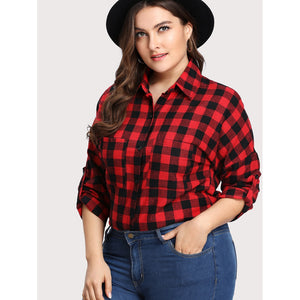 Check Plaid Drop Shoulder Shirt - Anabella's