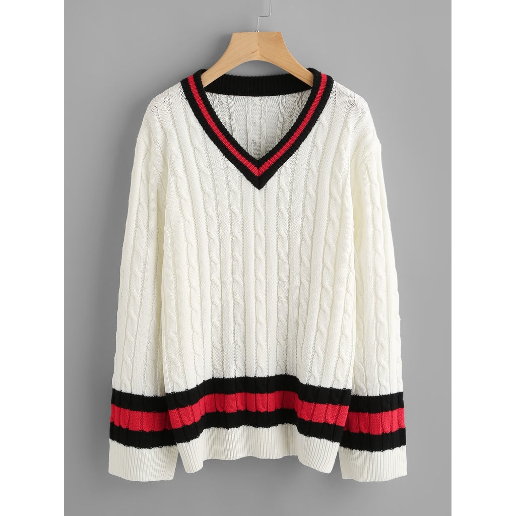 ad76afa4916 Cable Knit Striped Cricket Jumper ...