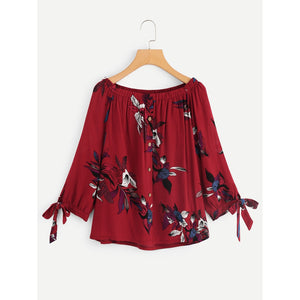 off Shoulder Floral Print Tie Cuff Blouse