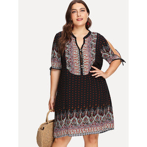 Plus V Cut Neck Knot Cuff Tribal Dress Multicolor