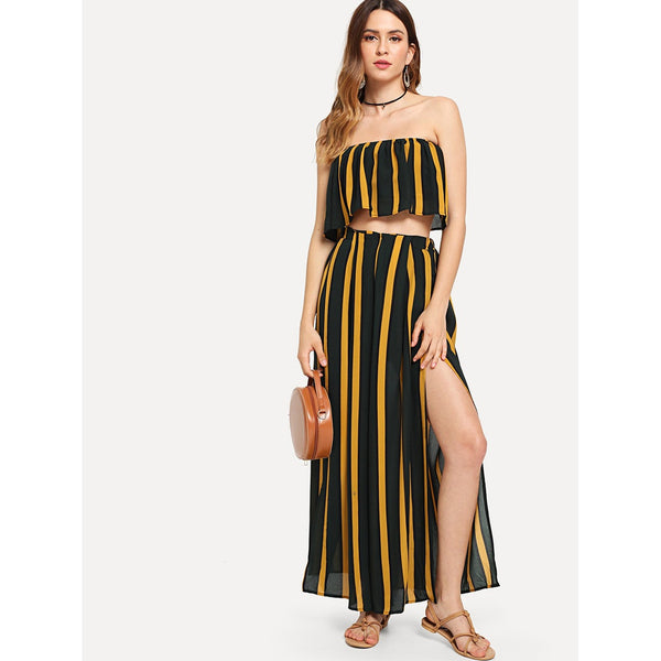 Striped Tube Top With Split Pants MULTI