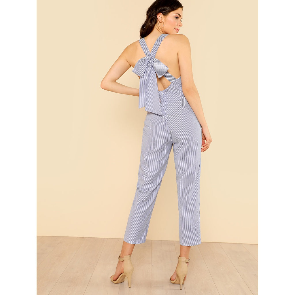 Bow Tie Back Striped Sweetheart Jumpsuit