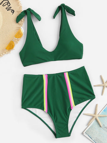 Self Tie Top With Striped High Waist Bikini