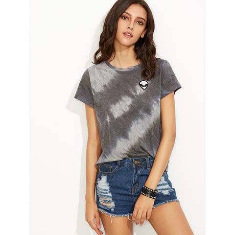 Tie Dye Print Alien Patch T-shirt