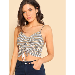 Drawstring Front Crop Cami Top