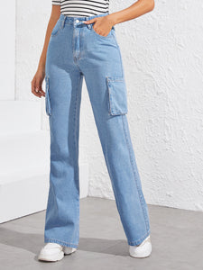 Flap Pocket Boot-cut Jeans