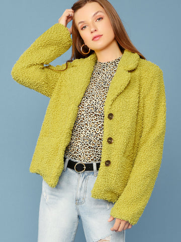 Loop Knit Button Front Oversized Jacket