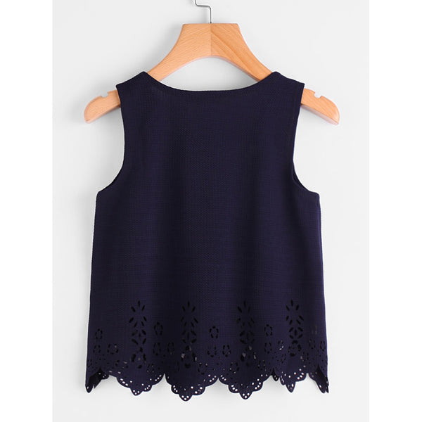 Scallop Laser Cut Textured Tank Top NAVY - Anabella's