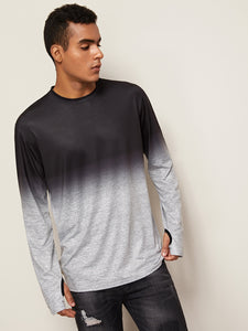 Men Ombre Tee With Thumb Holes