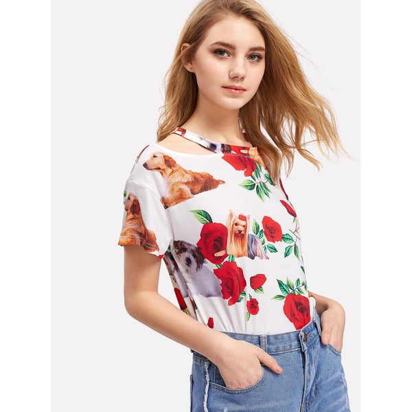 Flower And Dog Print Slash Tee - Anabella's