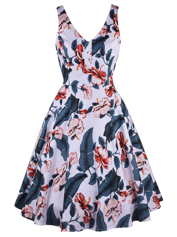 50s Floral Print Sleeveless Dress
