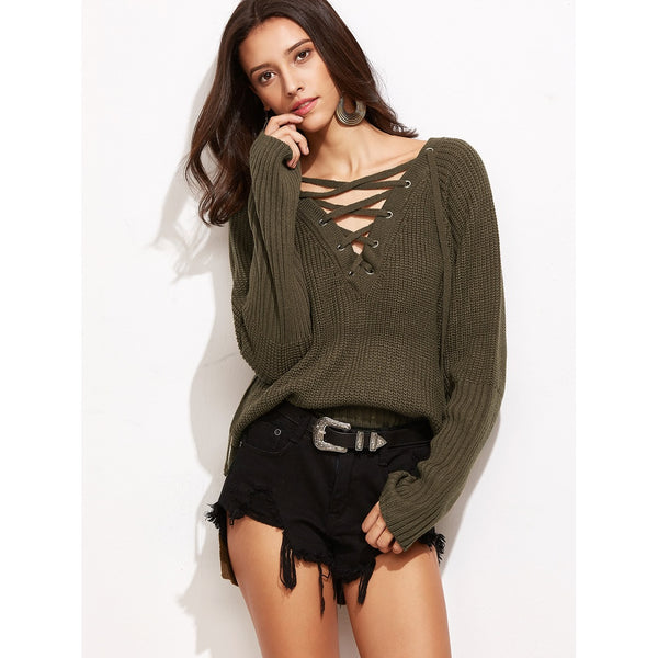 Brown Lace Up V Neck High Low Sweater