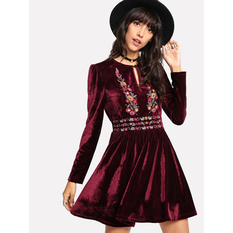 Buttoned Keyhole Front Embroidered Velvet Dress