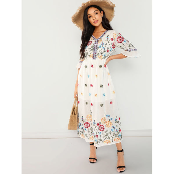 Flounce Sleeve Fit and Flare Floral Dress
