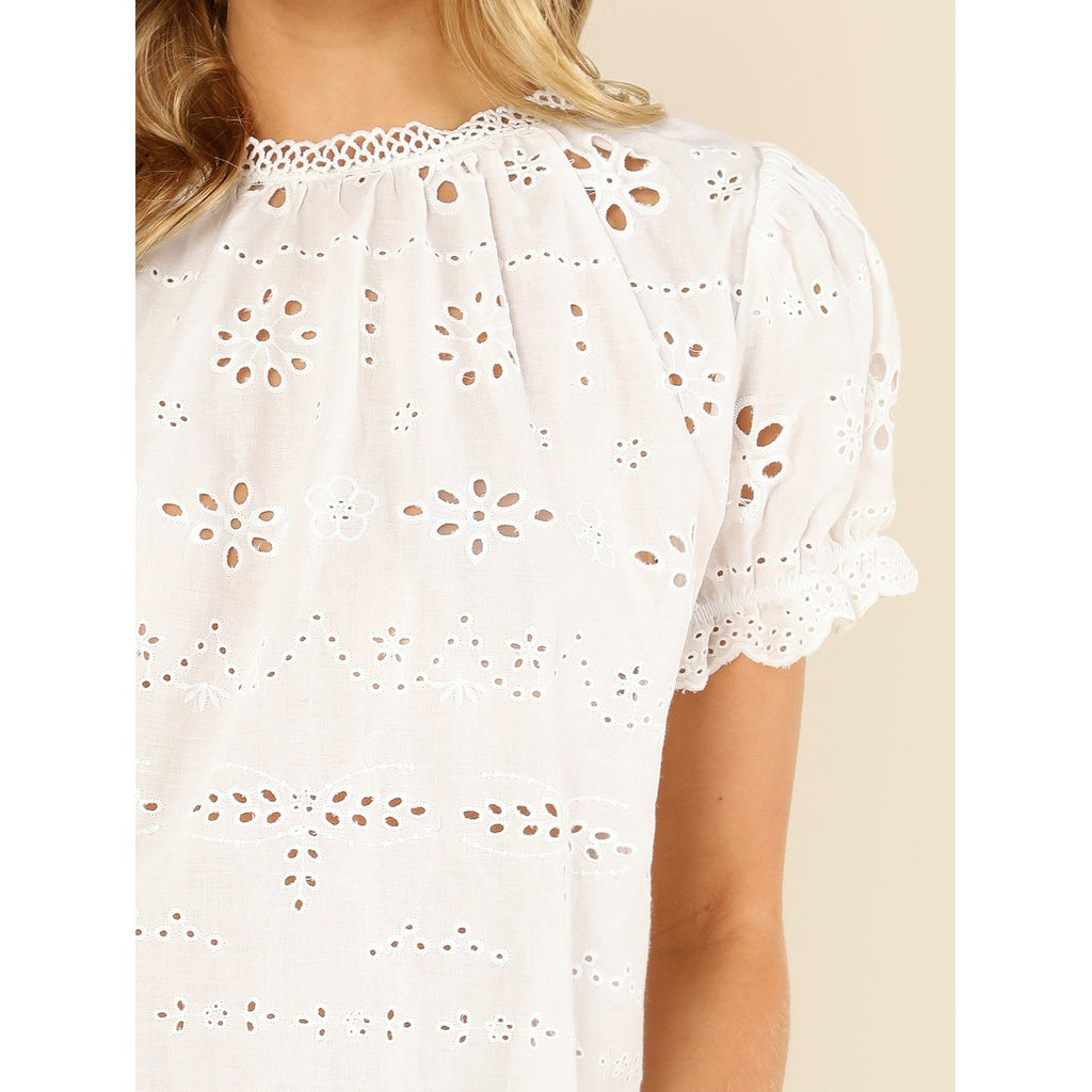 514ba1241627fc ... Puff Sleeve Eyelet Embroidered Top ...
