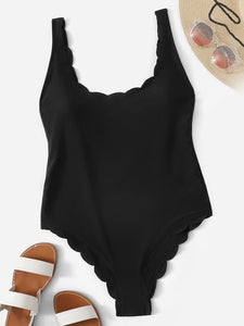 Scalloped Trim Scoop Neck One Piece Swimsuit