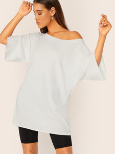 Boat Neck Drop Shoulder Longline Tee
