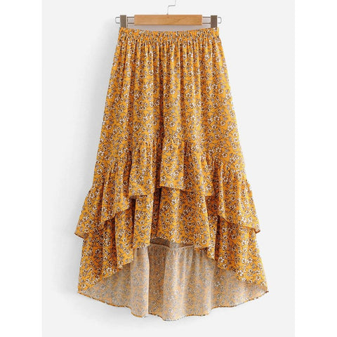 Calico Print Tiered Ruffle Dip Hem Skirt