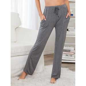 Drawstring Waist Solid Pants GREY