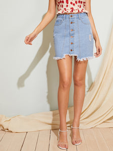 Trim Button Front Raw Hem Denim Skirt