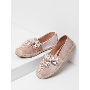 Jewelry Decorated Cap Toe Espadrille Flats - Anabella's