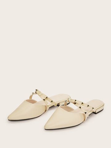 Studded Decor Criss Cross Flat Mules