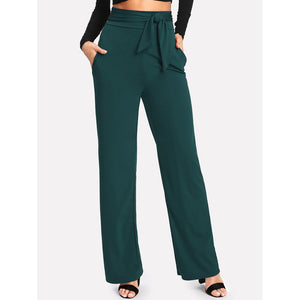Self Tie Wide Leg Pants Green