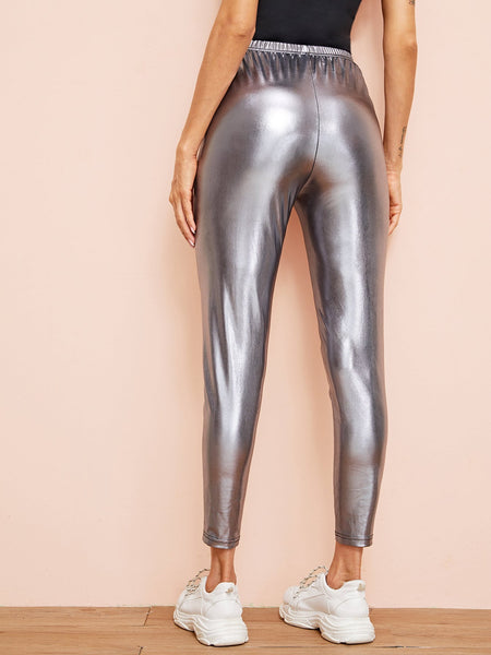 Elastic Waist Metallic Cigarette Pants