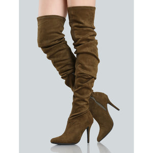 Faux Suede Ruched Thigh Highs MOCHA