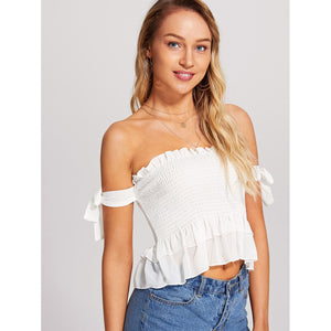 Frill Detail Knot Sleeve Crop Shirred Top