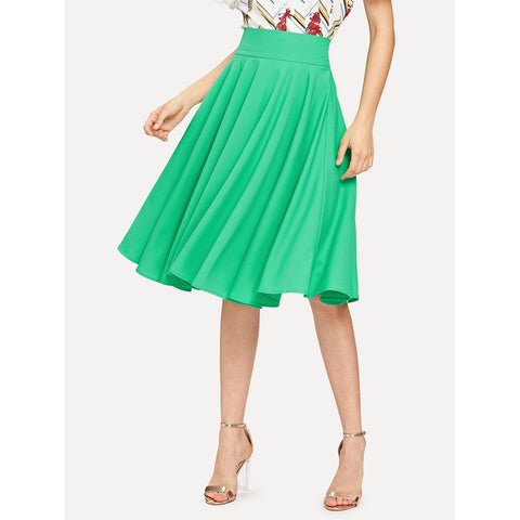 High Rise Wide Waistband Circle Skirt Green