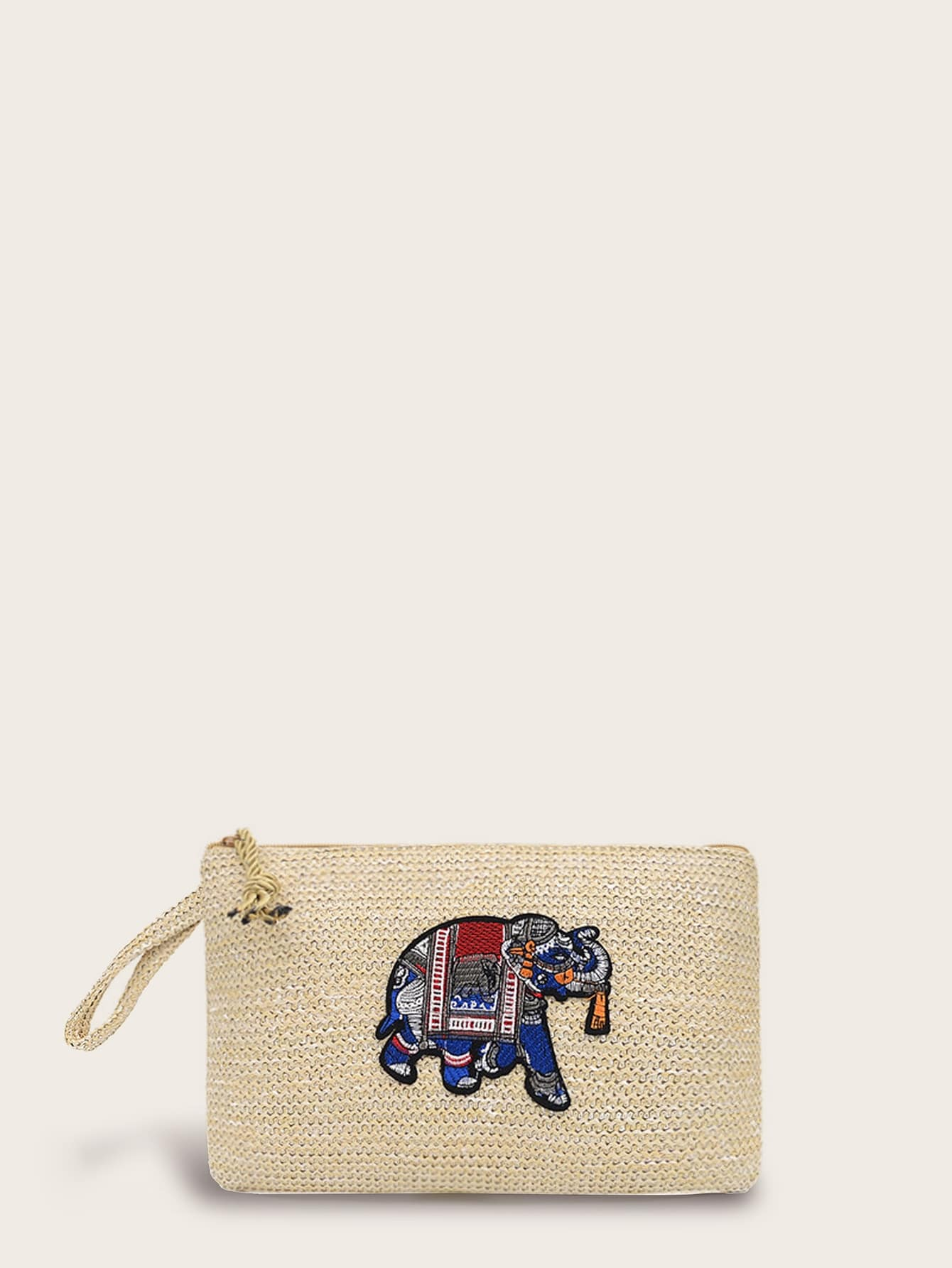 Embroidered Elephant Patch Decor Woven Purse