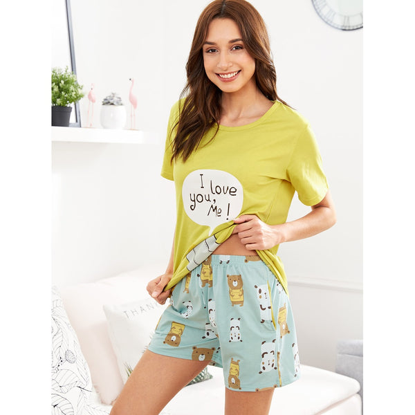 Bear Print Tee & Shorts PJ Set MULTICOLOR