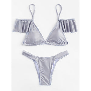 Flounce Detail Triangle Bikini Set GREY