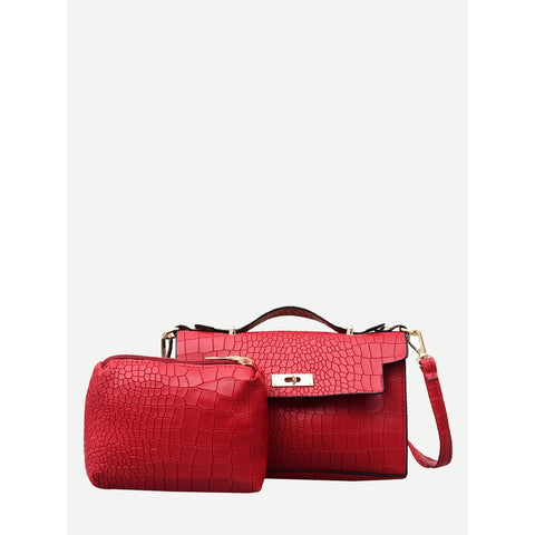 Twist Lock Crocodile Embossed Satchel Bag