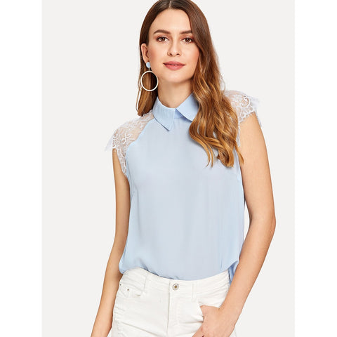 Lace Cap Sleeve Collared Top