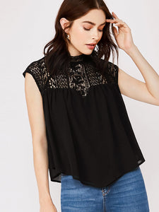 Lace Yoke Short Sleeve Blouse