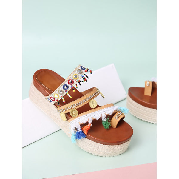 Apricot Open Toe Coin Fringe Trim Flatform Sandals - Anabella's