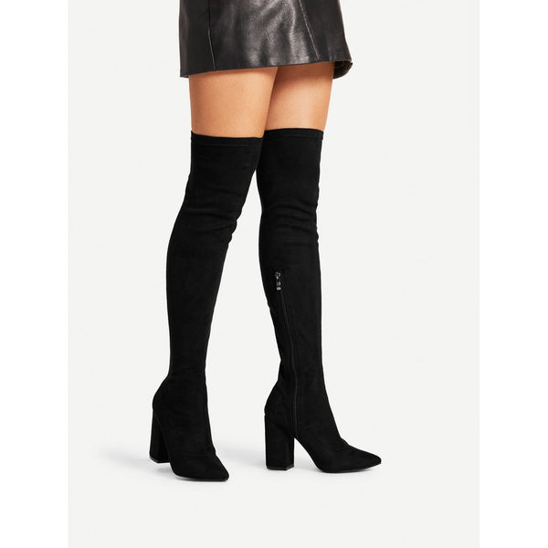 Block Heeled Over The Knee Boots - Anabella's