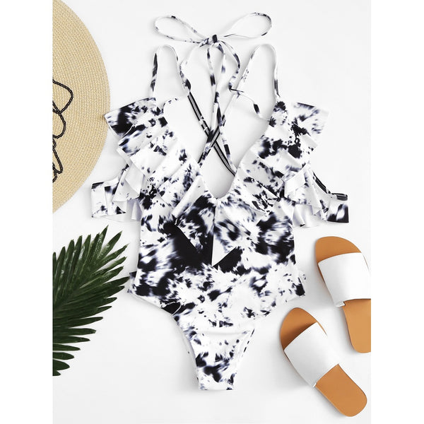 Tie Dye Ruffle Swimsuit BLACK AND WHITE