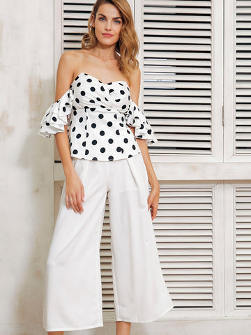 Simplee Layered Ruffle Sleeve Polka Dot Tube Top