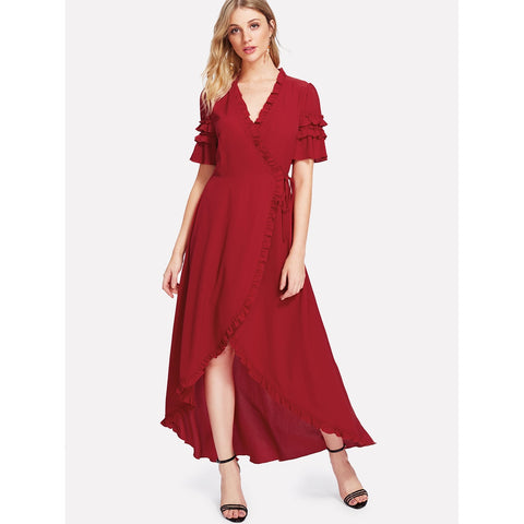 Knot Side Asymmetrical Ruffle Trim Dress