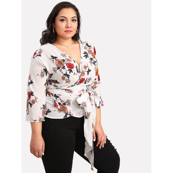 Self Belted Surplice Wrap Floral Top MULTICOLOR - Anabella's