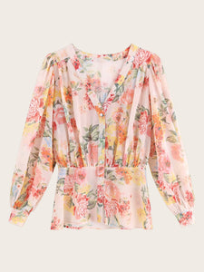 Floral Print V-neck Button Through Blouse