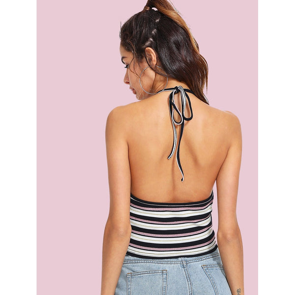 Open Back Crop Ribbed Halter Top - Anabella's